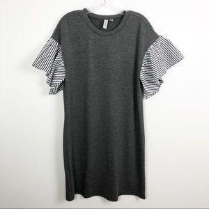 Tacera Ruffle Sleeve Tee Shirt Dress Grey Medium